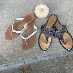 Two pairs of Talbots Leather flip-flops.